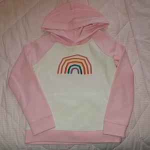 Cat & Jack pink, white & rainbow girl hoodie 5T